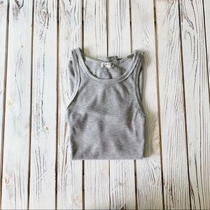 FREE PEOPLE LONG BEACH GREY RIBBED TANK TOP SIZE S